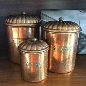 Vintage Copper Lidded Canisters Flour Sugar Tea